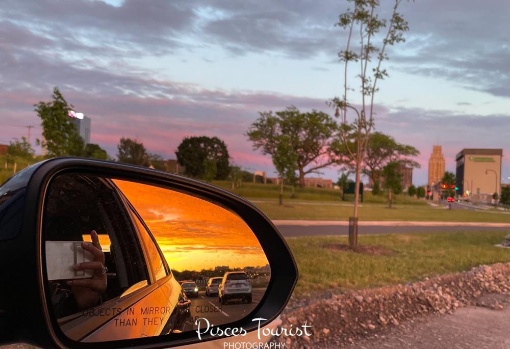 The Sunset in Canada from Niagara Falls USA